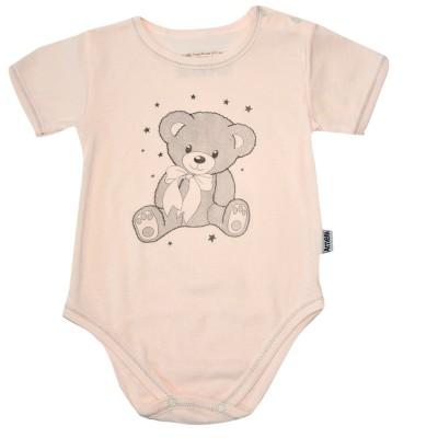 Боди (полукомбинезон) рост 80 с короткими рукавами на бейке с  кнопками в плече с принтом розовый мишка в Саратове