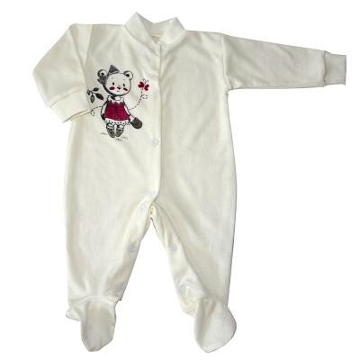 Комбинезон рост 56,68,80 см с закрытыми ножками, с распашными полочками и ножками на кнопках с принтом белый мишкой в Саратове