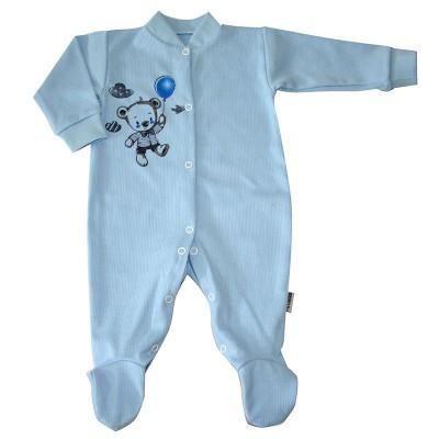 Комбинезон рост 62,74 см с закрытыми ножками, с распашными полочками и ножками на кнопках с принтом голубой мишкой в Саратове