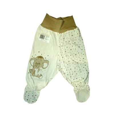 Ползунки рост 74 см, с Евро резинкой в пояснице, закрытыми ножками присборенные зиг-заг резинкой и принтом бежевый слоник  в Саратове