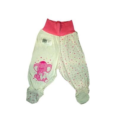Ползунки рост 74 см, с Евро резинкой в пояснице, закрытыми ножками присборенные зиг-заг резинкой и принтом розовый слоник в Саратове