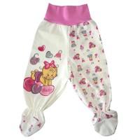 Ползунки рост 68 см, с Евро резинкой  в пояснице,  закрытыми ножками присборенные зиг-заг резинкой и принтом розовая девочка