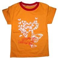 """Футболка с принтом """"Бабочки"""" цвет оранжевый для девочки размер 28, 32"""