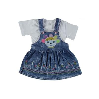 Платье джинсовое для девочек+футболка розовая размер 26/28 в Саратове