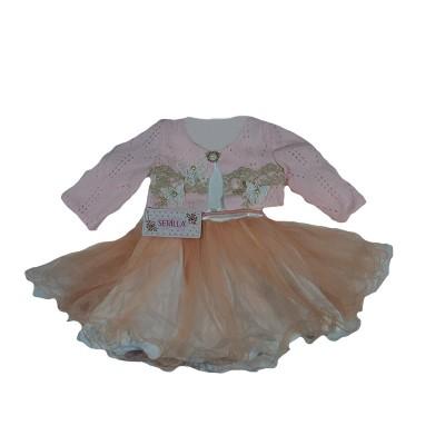 Платье с розовым болеро персиковой фатиновой юбкой размер 26/28 в Саратове