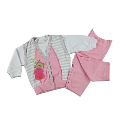 Тройка фуксия кофта+футболка+штаны 1-2 года в Саратове